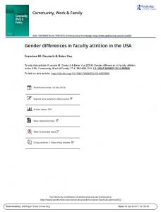 Gender differences in faculty attrition in the USA