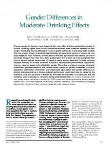 Gender Differences in Moderate Drinking Effects - NIAAA