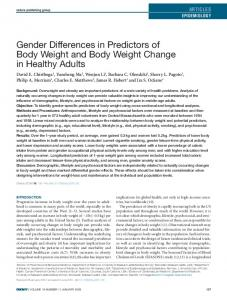 Gender Differences in Predictors of Body Weight ... - Wiley Online Library