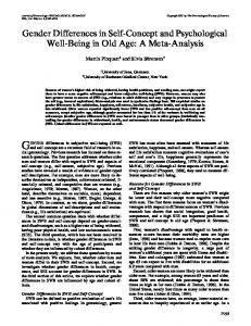 Gender Differences in Self-Concept and Psychological Well-Being in ...