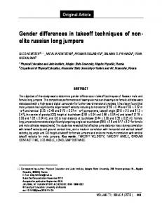 Gender differences in takeoff techniques of non- elite russian long ...