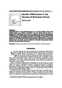 Gender Differences in the Causes of Business Failure
