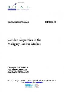Gender Disparities in the Malagasy Labour Market - DIAL / IRD