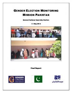 Gender Election Monitoring Mission, Pakistan 2013