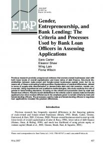 Gender, Entrepreneurship, and Bank Lending: The ... - CiteSeerX