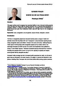 'GENDER FRAUD': WHERE DO WE GO FROM HERE? Penelope Childs
