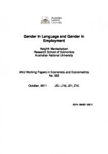 Gender in Language and Gender in Employment - Research School of ...