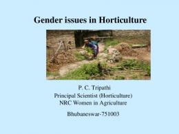 Gender issues in Horticulture