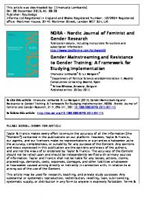 Gender Mainstreaming and Resistance toA