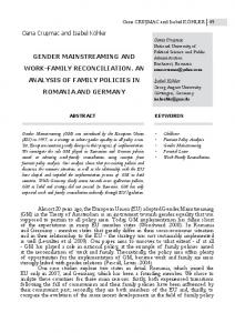 gender mainstreaming and work-family reconciliation. an analysis of ...