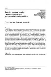 Gender quotas, gender mainstreaming and gender relations in politics