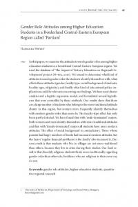 Gender Role Attitudes among Higher Education