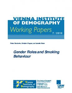 Gender Roles and Smoking Behaviour