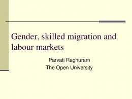 Gender, skilled migration and labour markets - GSM-IT