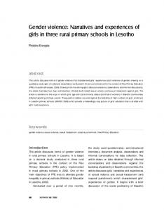 Gender violence: Narratives and experiences of girls ...