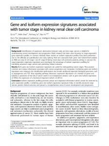Gene and isoform expression signatures associated with tumor stage ...