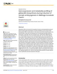 Gene expression and metabolite profiling of gibberellin ... - PLOS