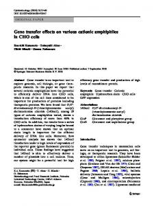 Gene transfer effects on various cationic amphiphiles ... - Springer Link