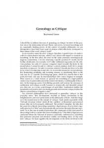 Genealogy as Critique - Wiley Online Library
