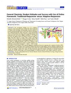 General Chemistry Student Attitudes and Success ...