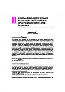 general equilibrium dynamic models and the doha round impact on ...