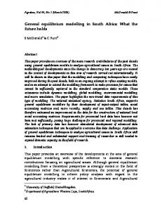 General equilibrium modelling in South Africa: What ... - AgEcon Search