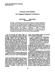 General Linear Models - Quantitative Methods for Psychology