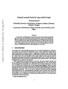 General normal forms for any additive logic