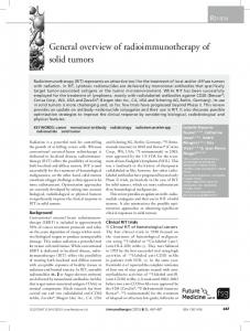 General overview of radioimmunotherapy of solid ...