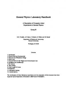 General Physics Laboratory Handbook