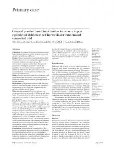 General practice based intervention to prevent repeat episodes of ...