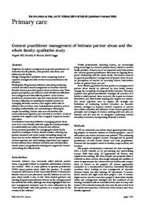 General practitioner management of intimate partner abuse and the ...