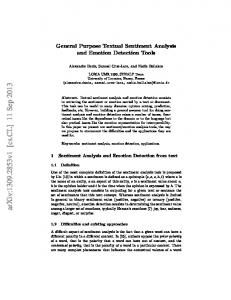 General Purpose Textual Sentiment Analysis and Emotion Detection ...