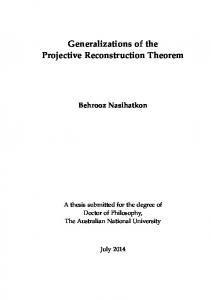 Generalizations of the Projective Reconstruction Theorem