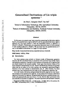 Generalized Derivations of Lie triple systems