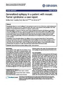 Generalized epilepsy in a patient with mosaic Turner syndrome: a ...