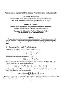 Generalized Factorial Functions, Numbers and Polynomials