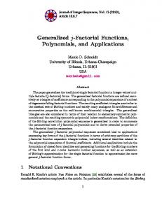 Generalized j-Factorial Functions, Polynomials, and Applications