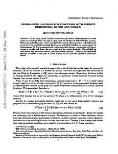 GENERALIZED JACOBIAN FOR FUNCTIONS WITH INFINITE ...