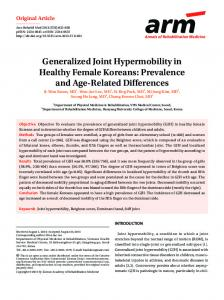Generalized Joint Hypermobility in Healthy ... - KoreaMed Synapse