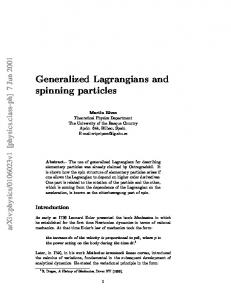 Generalized Lagrangians and spinning particles