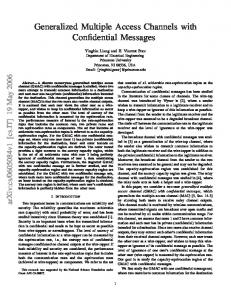 Generalized Multiple Access Channels with Confidential ... - arXiv