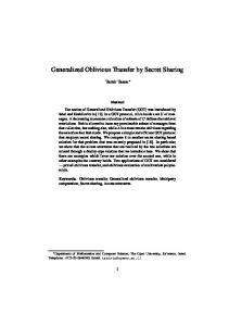 Generalized Oblivious Transfer by Secret Sharing