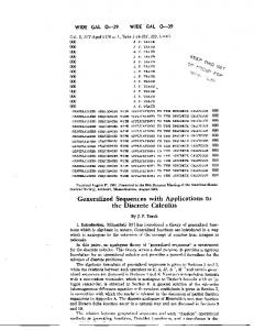 Generalized Sequences with Applications to the
