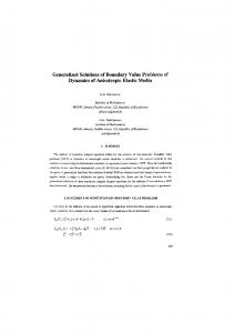 Generalized Solutions of Boundary Value Problems of