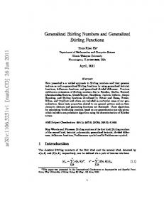 Generalized Stirling Numbers and Generalized Stirling Functions