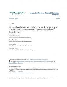 Generalized Variances Ratio Test for Comparing k Covariance ...