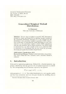 Generalized Weighted Weibull Distribution 1
