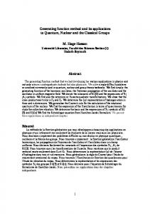 Generating function method and its applications to