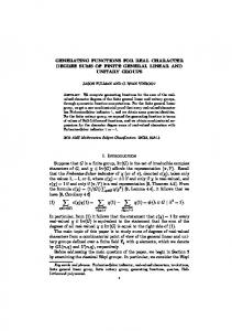 GENERATING FUNCTIONS FOR REAL ... - Mathematics